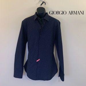 Armani Plaid Long Sleeve Shirt XL 100% Cotton